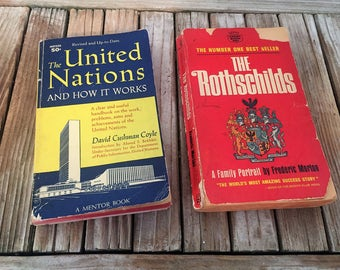 Vintage Set of Mid Century Books Titled The United Nations and How It Works and The Rothschilds A Family Portrait
