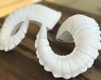 """Ram Horns, """"Snow"""" wearable rugged Pan/Satyr Horns pure white by HoopY FrooD"""