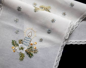 Vintage hand embroidered Christmas table runner