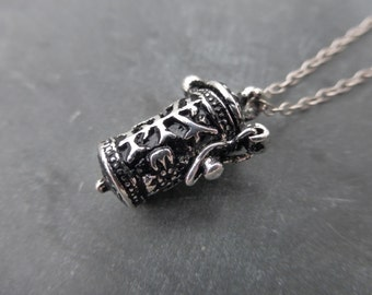Antiqued Silver Cylinder Wish Box Locket Pendant With Hand Finished 925 Sterling Silver Chain - Secret - Memory Keeper - Prayer Box