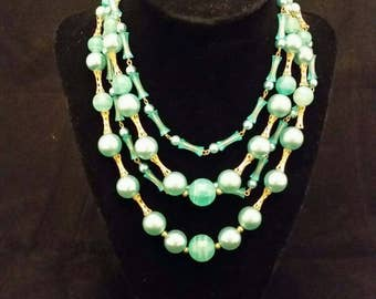 Vintage Turquoise and gold beads necklace and earring set