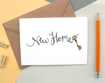 New Home | Gold Key | Greetings Card | Hand-lettered and illustrated Design