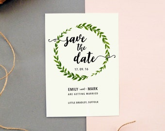 Painted Leaf Wreath Save The Date Card | Sample card