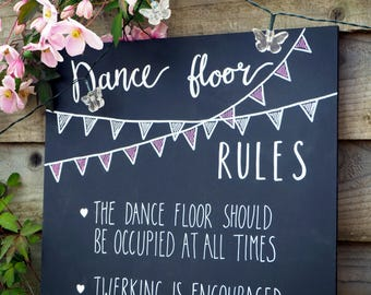 Dance Floor Rules Hand-lettered Sign | Weddings | Parties | Celebrations