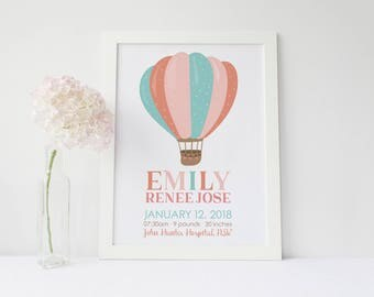 Custom Birth Announcement Poster, Hot Air Balloon Print, Personalised Wall Print, Name Poster, Custom Name Print, Adventure Nursery Print