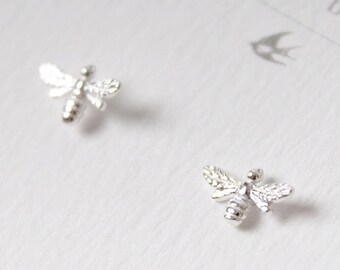 Sterling Silver Bee Stud Earrings // Insect earrings // Gifts for her // Small stud earrings // Sterling silver studs