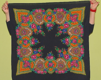 Lovely Black Russian Shawl Pavlovo Posad shawl / Ukrainian Shawl / headscarf Folk Scarf Babushka Roses Traditional Slavic floral ornaments