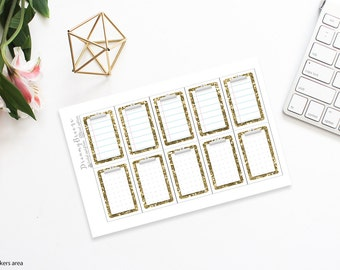 Gold Glitter | Clipboard boxes | Printable Planner Stickers | Happy Planner