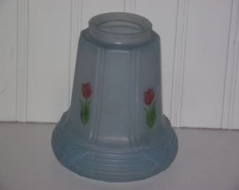 Antique hand painted, pale blue bridge/floor lamp shade from the 1930's