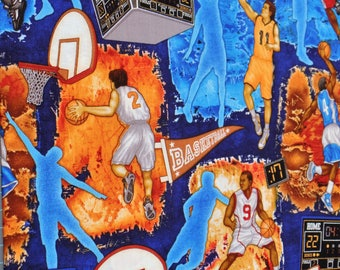 Dan Morris Fabric By The Yard Basketball Players B Ball Players Quilt Fabric Apparel Fabric Sew Sporty by RJR  Blue fabric Premium Quality