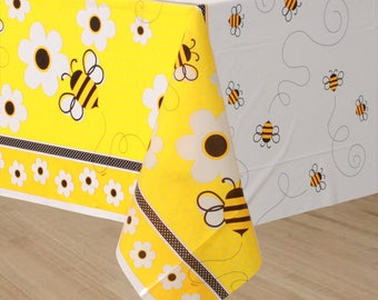 54 X 84 Inch Bumble Bee Plastic Table Cover - Buzzing Bee's Theme Tablecloth - Birthday - Shower - All Occasion