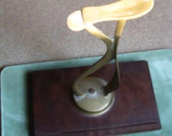 Vintage solid brass shoe shine foot rest cobbler stand pedestal