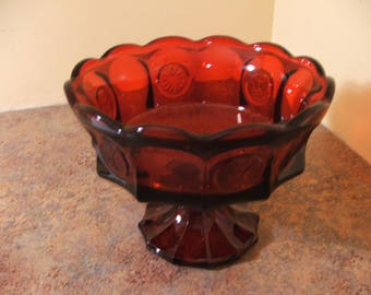 1960s Fostoria Glass Ruby Red Coin Compote / Fruit or Candy Dish / Pedestal Bowl