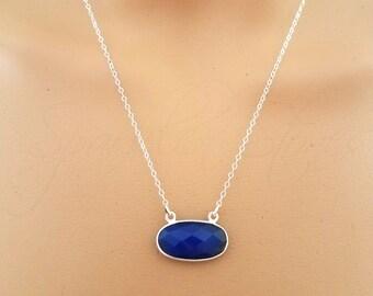 Blue Chalcedony Necklace, Chalcedony Oval Necklace, Dark Blue Chalcedony Pendant, Sideways Oval Necklace