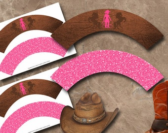 Cowgirl Cupcake Wrappers Instant Download Printable Cupcake Wrappers