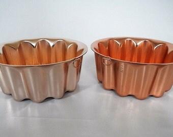 Vintage Copper Molds - set of 2,round, bubble, dots - 1970s - jello mold, hanging mold, aluminum, kitchen wall decor, decorative, cottage