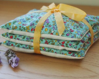 Handmade lavender sachets - gorgeous coloured floral on blue