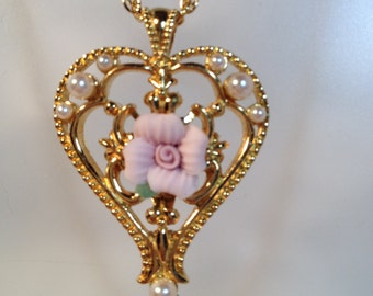 Avon Heart Shaped Necklace With Faux Pearls and a Porcelain Pink Rose at Center, Bright Gold Tone Setting, Victorian, Valentine