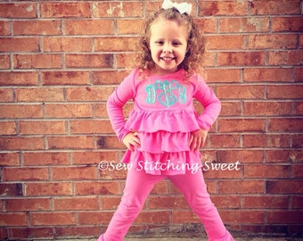 Monogramned Ruffle knit pants set, personalized pants set, pants set, girls pants set, knit pants set, ruffle pants, personalized girls set