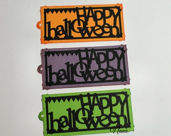 3 Colors of Happy Halloween Tags (Set of 12)-Halloween-Tags-Halloween Tags-Tag