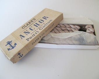 Vintage FULL unused box of Clarks Anchor Pearl Cotton~12 full skeins~Vintage Haberdashery Shop supplies~Display or use