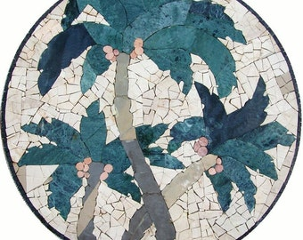 Handmade Mosaic Palm Trees TableTop