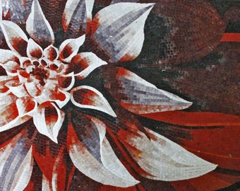 Red and White Flower Glass Mosaic Mural
