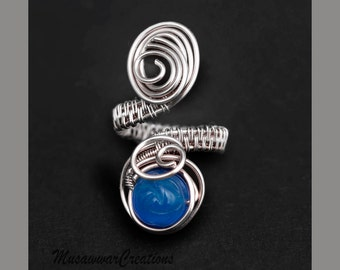 Blue agate silver plated ring,wire wrapped ring, adjustable rings, silver wire wrapped ring-adjustable