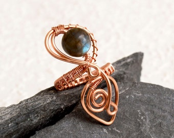 Labrodorite  copper ring,Copper wire ring .copper ring adjustable,wire wrapped copper ring