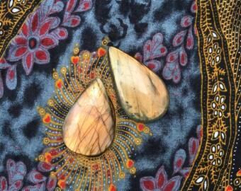 2 pear shaped labradorite cabochons