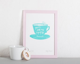 Cup of Tea Screen Print, Pastel Wall Decor, Kitchen Print, Tea Lover, New Home Gift.
