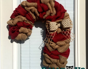 Candy Cane Christmas Wreath - Winter Wreath, Natural,  Red Candy Canes, Holiday Burlap Wreath - Candy Cane Burlap Wreath - Candy Cane Wreath