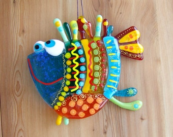 Fancy Fused Glass Fish. Garden Art. Rainbow Glass Fish Suncatcher. Home  Decor For Part 36