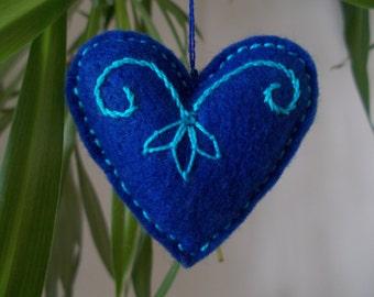 Love Heart Gift,Blue Hanging Felt Heart,Embroidered Heart,Felt Pincushion,Bag Charm,Key Ring,Car Ornament,Wedding Decor,Valentine's Day