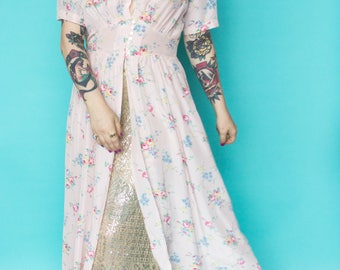 1930s Dressing Gown / 30s Floral Duster Dress