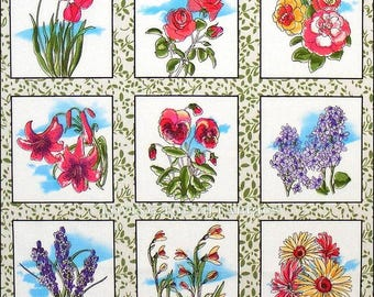"""Fabri-Quilt Victorian """"Flower Squares"""" Multi Colored on White Fabric"""