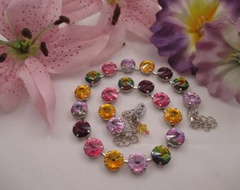 "Swarovski crystals/""Window Box""/Colorful 12mm cup chain necklace"