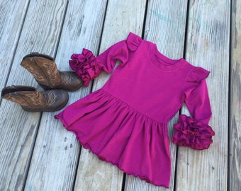 Plum peplum tunic, girls tunic dress, toddler knit ruffle tunic, newborn coming home outfit, long sleeves ruffle tunic, easter ruffle tunic