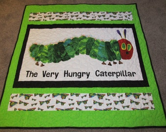 """The Very Hungry Caterpillar - The Hungry Caterpillar - The Hungry Caterpillar Quilt - 51"""" x 52"""" - The Hungry Catepiller - Nursery Quilt"""