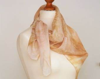 Spring inspiration, hand-painted silk scarf, free shipping