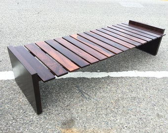 Vintage Solid Brazilian Rosewood Slat Bench Coffee Table