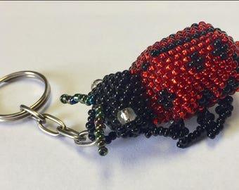 Ladybug Beaded Keychain GA3/ ladybug keychain/friend gift/ladybug/beaded keychain/cute keychain/trinket
