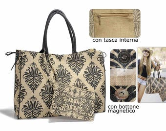 Jute Bag Damask Handbag Printed Jute with Clutch
