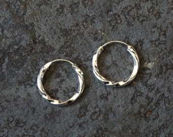 Silver Hoops, Silver Hoop Earrings, Mini Hoops, Hoop Earrings, Sleeper Hoops, Twist Hoops, Everyday Earrings, Sterling Silver, 925