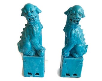 Pair of Turquoise Foo Dog Statues