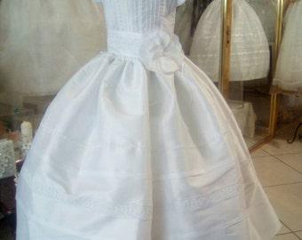 First Communion dress, white dress girl, first communion, christening, celebration, ceremony, elegant embroidered crystals, white