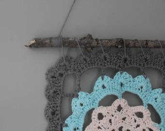 Crochet Wall Hanging//Handmade//Dream Catcher//Cotton//Boho//Tassels//Gray//Blush//Turquoise