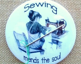 Needle Minder, Drawing of Girl, Old Sewing Machine, Sewing Mends the Soul, Pencil Art, Seamstress, Sewist, Three Inch Magnetic Needle Nanny