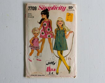 Girls 4: Simplicity 7709, Circa 1968 Sewing Pattern, Child's and Girl's Jiffy Dress or Jumper or Top with Shorts, Size 4, 60s Fashion