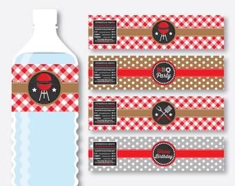Instant Download, Barbeque Water Bottle Labels, BBQ Water Bottle Labels, Barbeque Bottle Wrappers, BBQ Party Decoration, Printable (CKB.75)